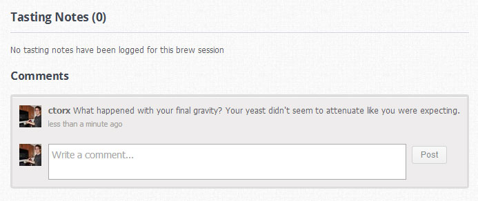 Brew Session Comments